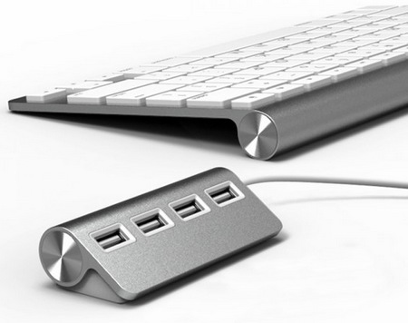 Satechi ST-UHA 4-Port Aluminum USB Hub apple keyboard