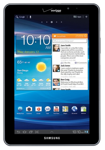 Verizon Samsung Galaxy Tab 7.7 LTE 4G Android Tablet front