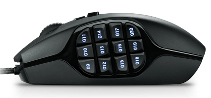 Logitech G600 MMO Gaming Mouse with 20 buttons side
