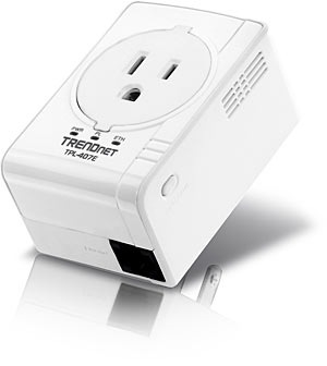 TRENDnet TPL-407E Compact 500Mbps Powerline AV Adapter with Outlet