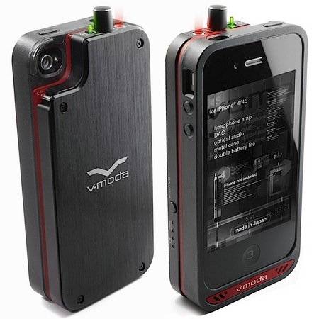 V-Moda VAMP Headphone Amp, DAC and Battery Case for iPhone 4 4S front back