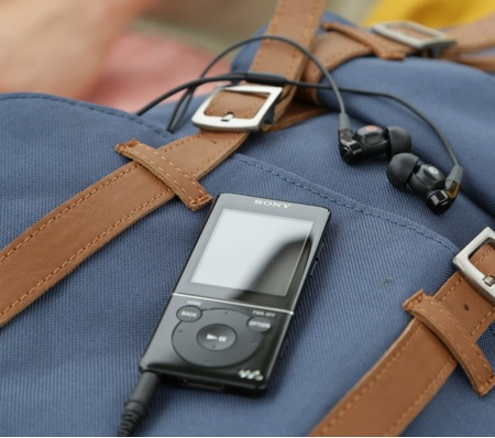 Sony Walkman E570 portable media player in use