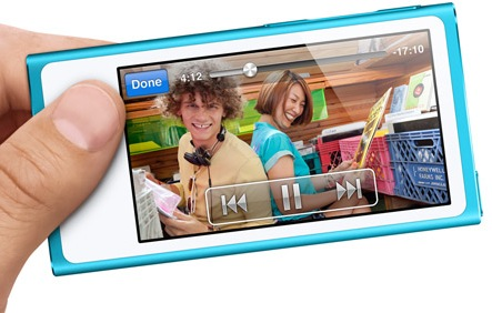 Apple iPod nano 7th gen with 2.5-inch Multitouch Display blue on hand video
