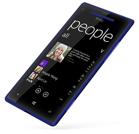 HTC 8X Windows Phone 8 Smartphone blue angle
