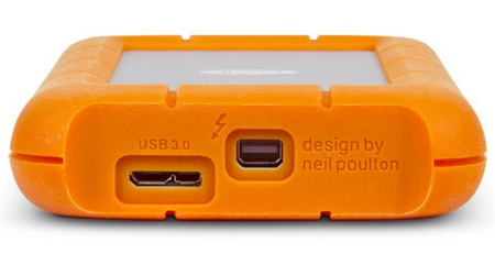 LaCie Rugged USB 3.0 Thunderbolt Series Portable Hard Drive connectors