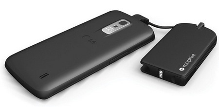 Mophie juice pack reserve micro with key ring in use