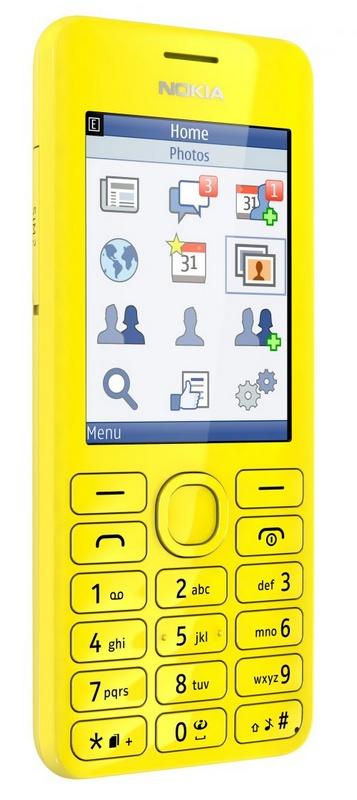 Nokia 206 S40 phone with slam yellow