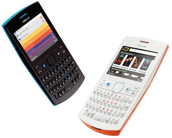 Nokia Asha 205 S40 qwerty phone facebook button cyan orange