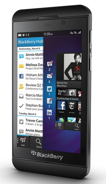BlackBerry Z10 BB10 Smartphone black angle