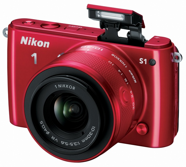 Nikon 1 S1 mirrorless camera red
