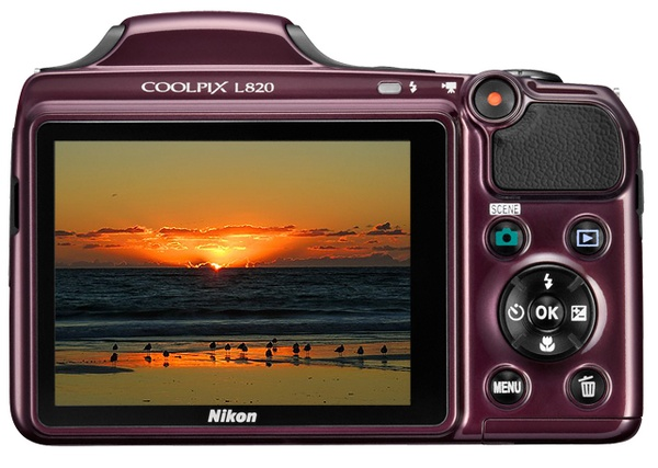 Nikon Coolpix L820 with 30x Optical Zoom plum back