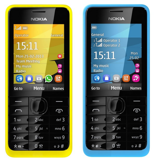 Nokia 301 feature phone cyan yellow