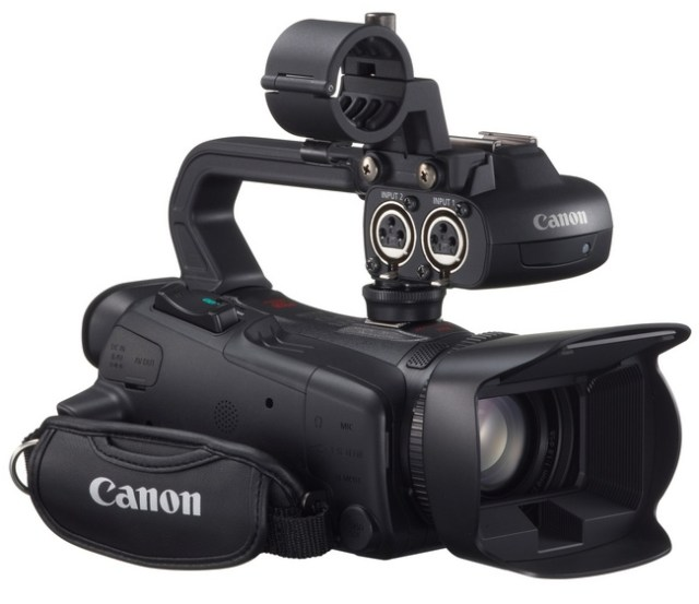 Canon XA25 and XA20 Ultra-Compact Professional Camcorders with handle