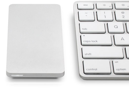 OWC Envoy Pro EX Portable SSD with mac keyboard