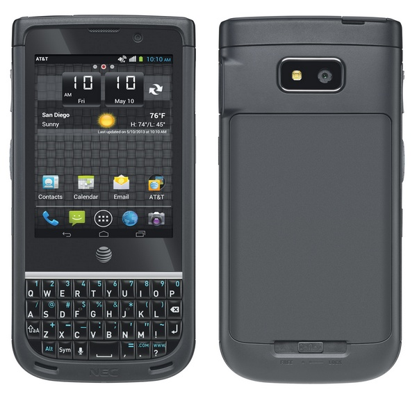 AT&T NEC Terrain Rugged Smartphone with Enhanced Push-to-Talk back front
