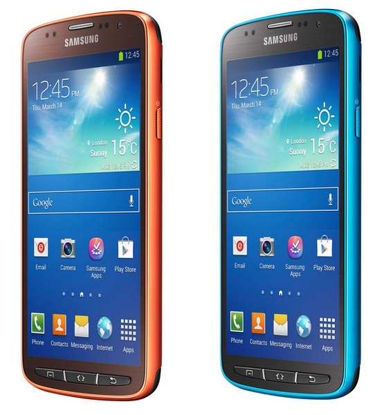 Samsung Galaxy S4 Active Rugged Smartphone blue ornage