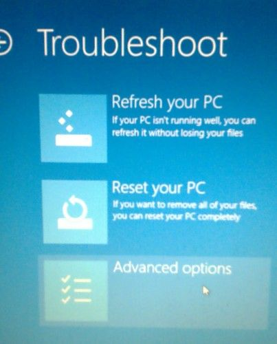 windows 8 trouble shoot