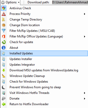 Windows Hotfix Downloader Options