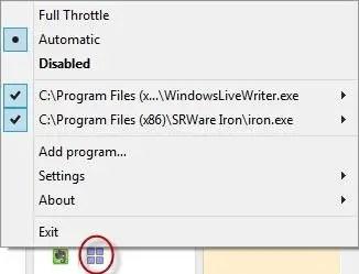 Full Throttle context menu