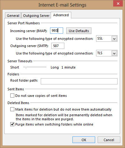 Outlook 2013 Advanced settings