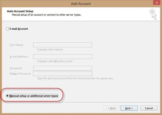 Outlook 2013 manual setup