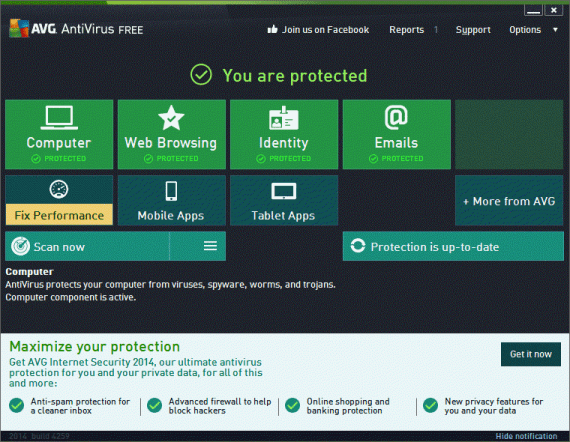 Final-result-with-AVG-Free-Antivirus-570x442 Convert AVG Internet Security Trial Into AVG Free Antivirus