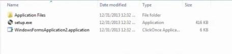 folder of Published application