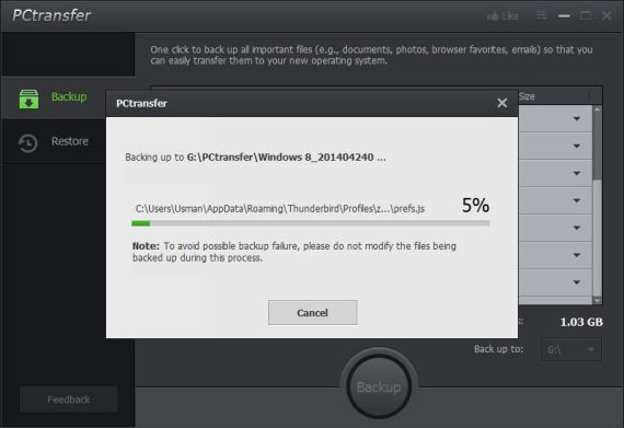 IObit PCTransfer backing up settings and data
