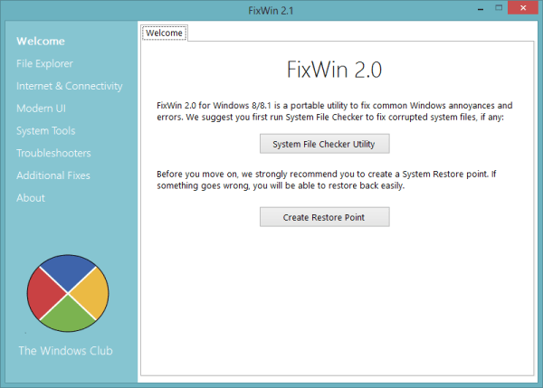 FixWin 2.0 Welcome