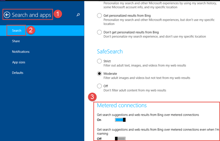 Metered Connection - Change Bing Search settings