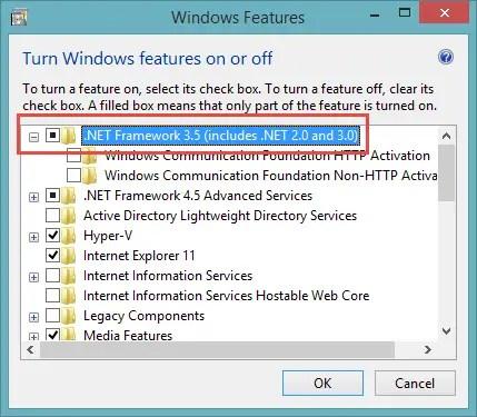 .NET Framework 3.5 enable the framework