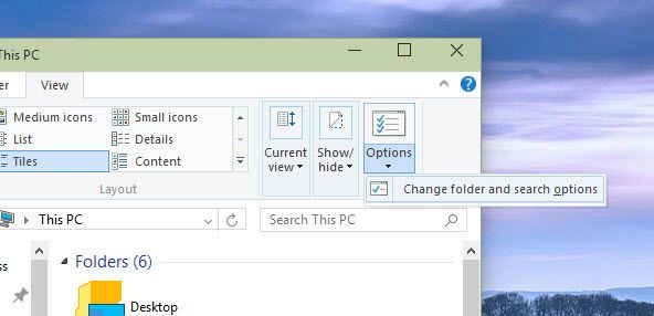 Opening Folder Options in Windows 10