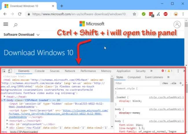 Open inspect panel in Chrome