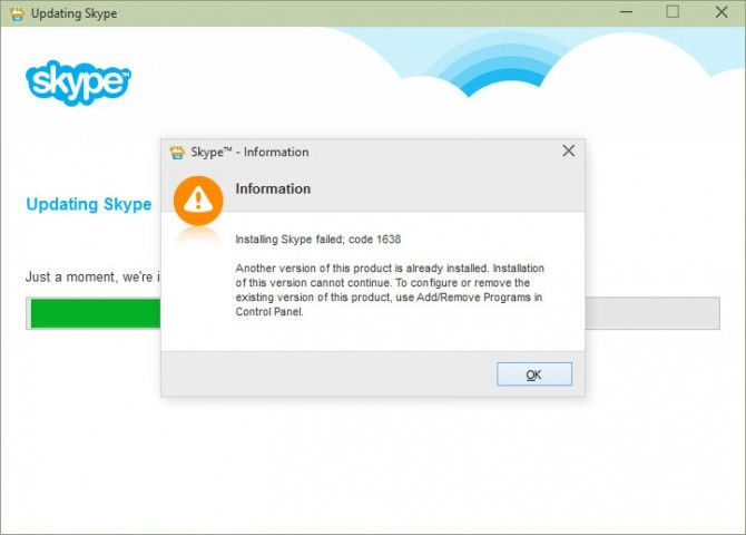installing skype failed with error code 1638