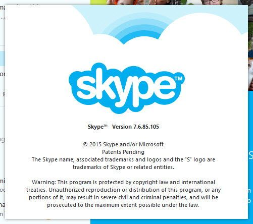 Skype 7.6 version check