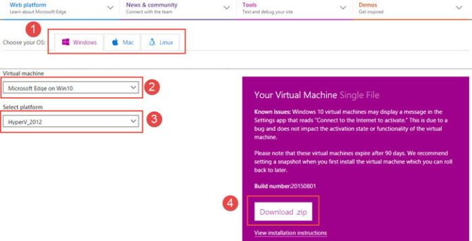 Downloading Microsoft Edge Windows 10 VM