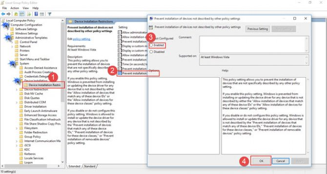 Group policy to disable device driver installation in Windows 10