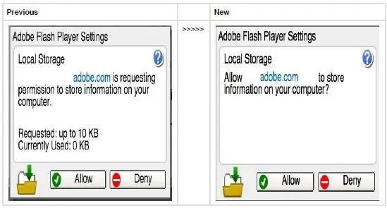 Adobe Flash Player 21 Settings