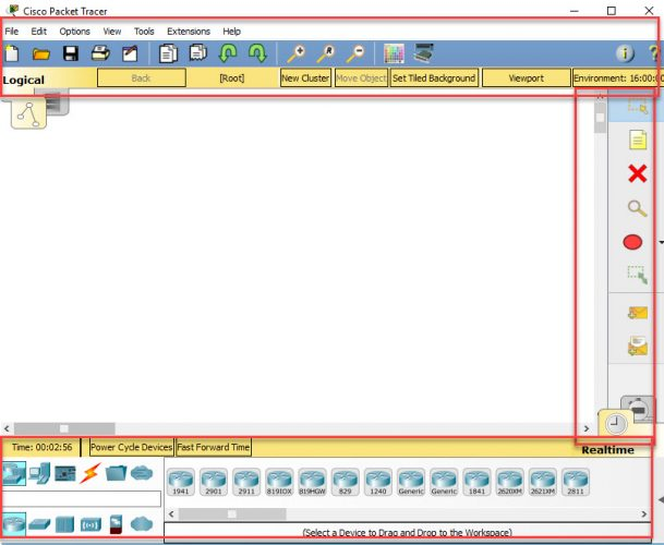 Cisco Packet Tracer 7.1 action pane and menu