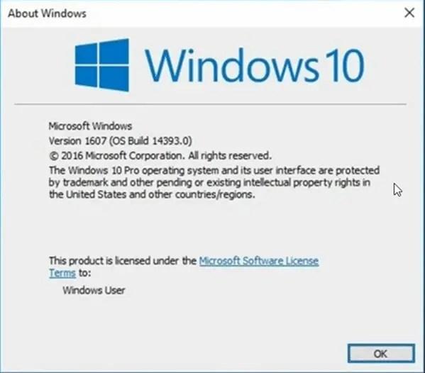 Windows 10 version 1607 anniversary update