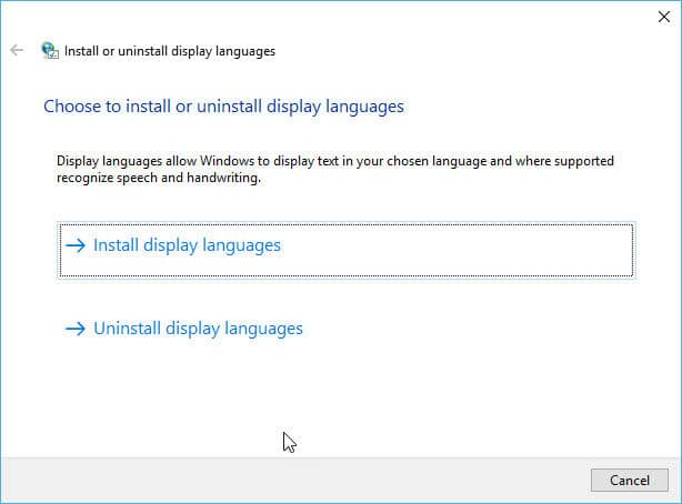 Choose language pack to install in Windows 10 Version 1703