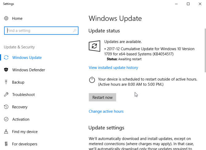 KB4457142 for Windows 10 version 1709 download and installation