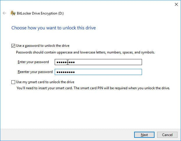Choose how to unlock this drive