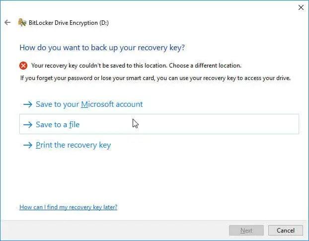 backup recovery key