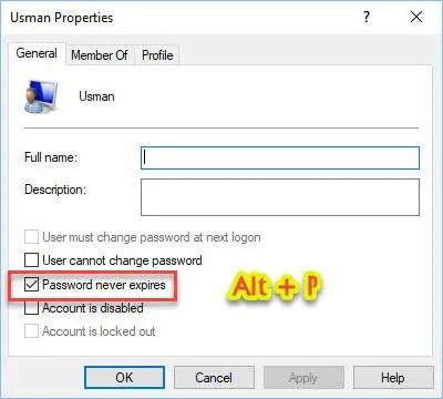 """User Properties """"Password never expires"""""""
