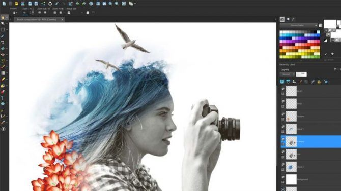 complete workspace user interface of PaintShop Pro 2018