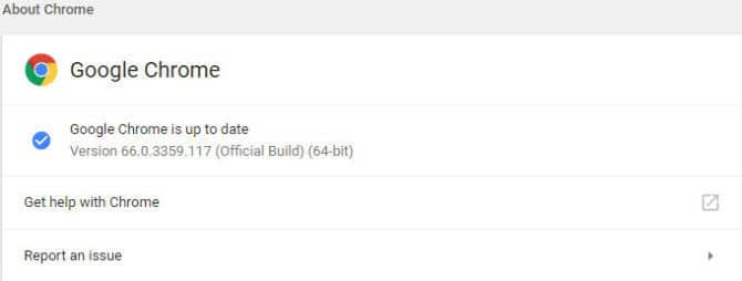 Chrome 66 Version Check