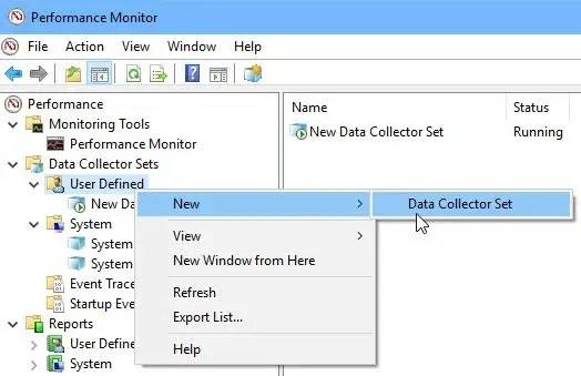 New custom data collector set