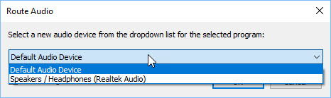 Routing audio of an application in Audio Router