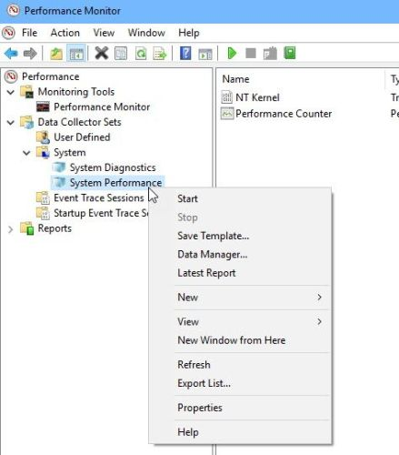 Starting System Performance Data Set to generate report